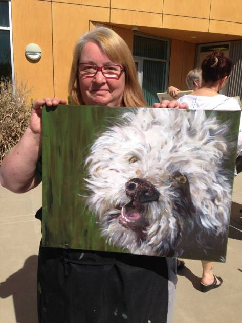 Me and my finished painting.  (Photo by Aimee Rebmann)
